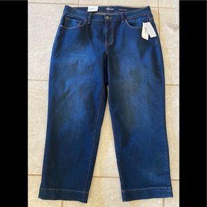 Dark Blue Jeans Capri Mid Rise 5 Pocket Curvy Fit